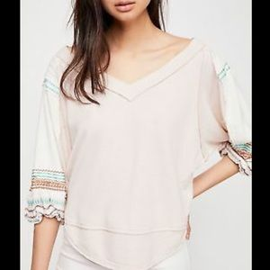 NWT Free People Ballet Combo Bubble Tee Top Small